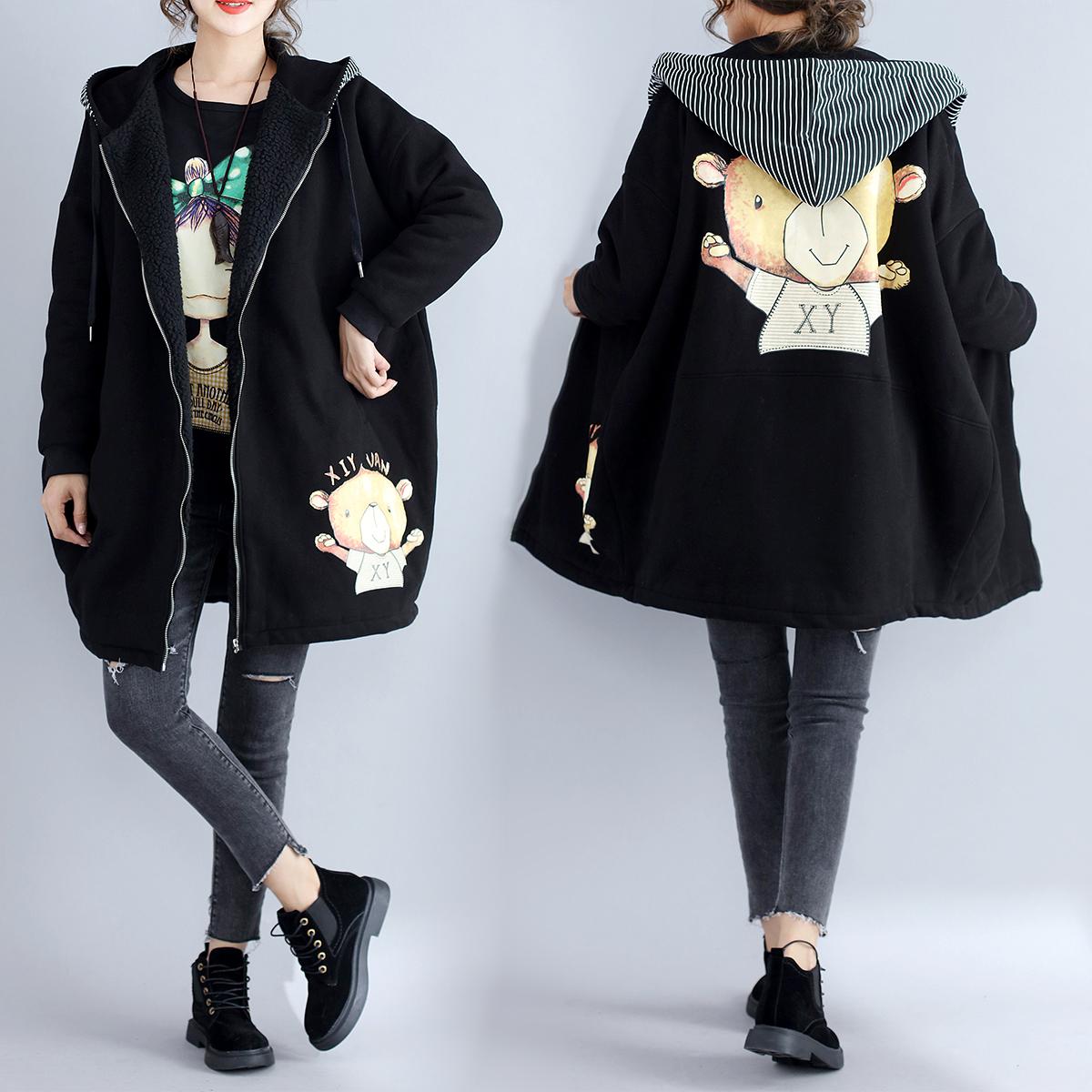 胖公主大码女装冬装外套200斤胖妹妹中长款宽松加绒加厚卫衣显瘦