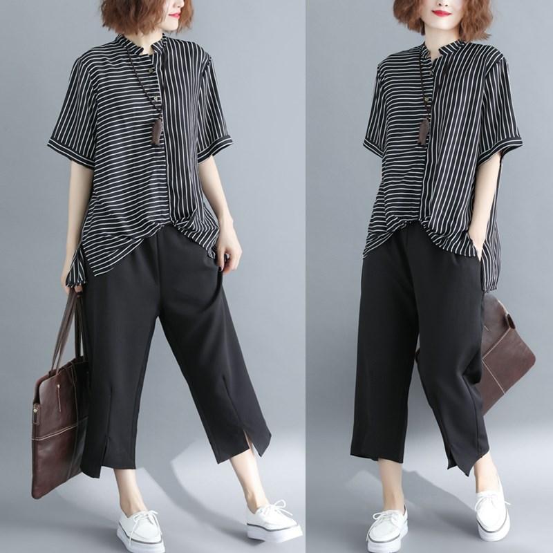 大码女装洋气套装微胖mm夏季韩版减龄两件套显瘦时髦休闲时尚遮肉