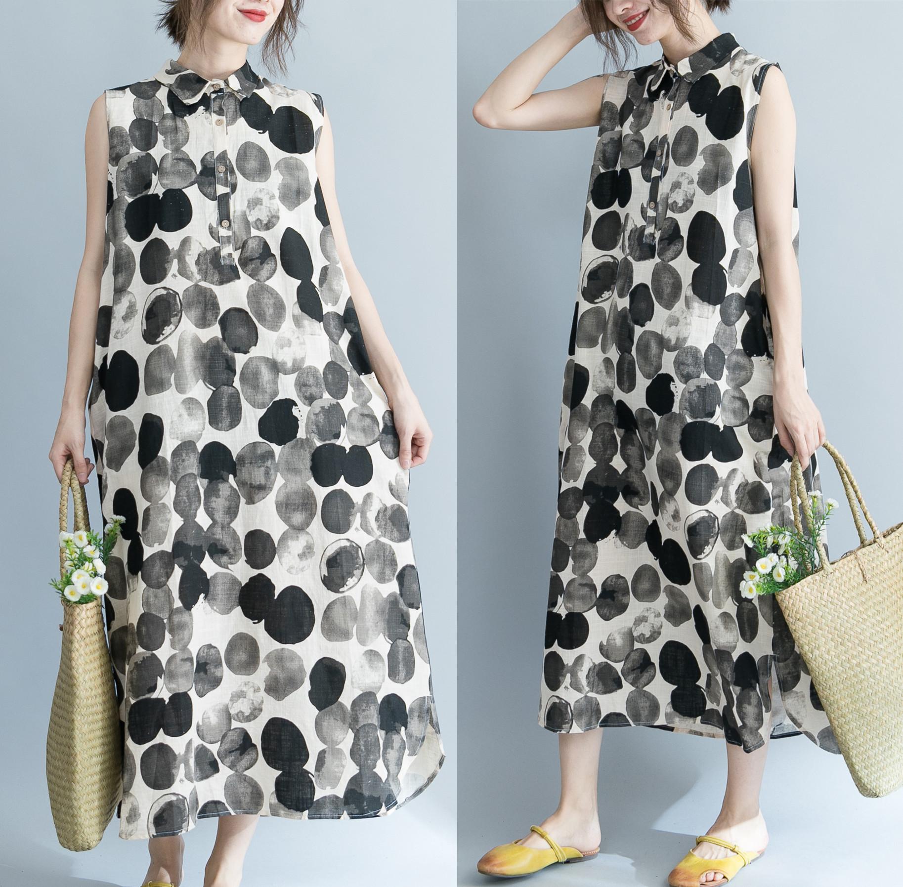 大码女装夏装微胖mm遮肚子连衣裙显瘦洋气文艺中长款棉麻遮肉长裙