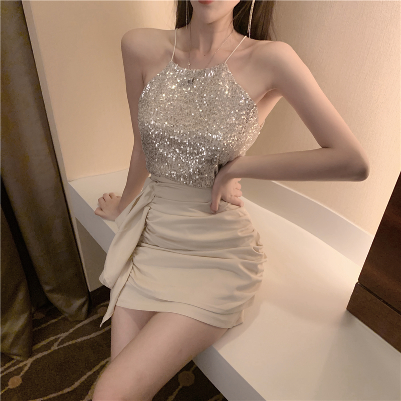 2019夏季新款性感亮片吊带+高腰褶皱包臀短裙两件套时尚套装女装12-08新券