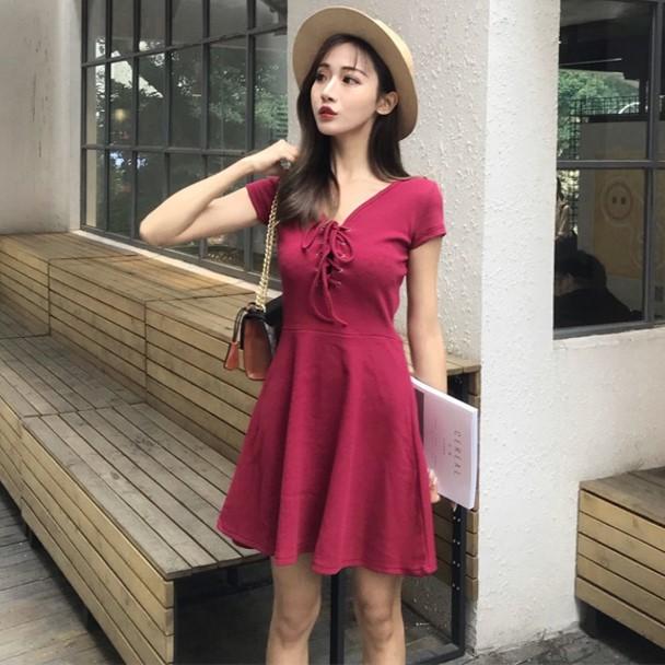 2018夏装新款修身显瘦裙子韩版系带短裙V领A字裙短袖连衣裙女装潮