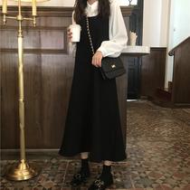 春季2019新款chic韩国蝴蝶结背带连衣裙+双层娃娃领衬衫两件套装