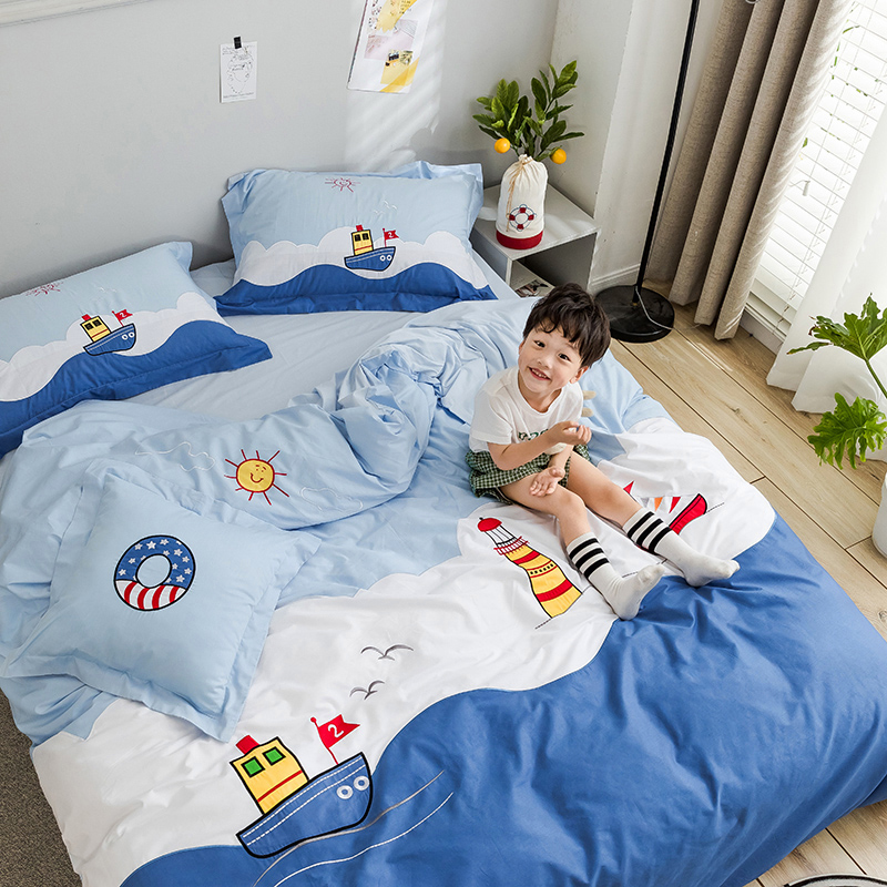 All cotton childrens room four piece set of pure cotton boy high and low bed bedding girl quilt set three piece sheet set 1.5m