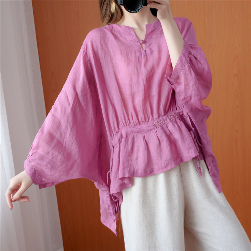 Real spot 2671 summer new embroidered retro Button Waist top pleated loose sleeve shirt