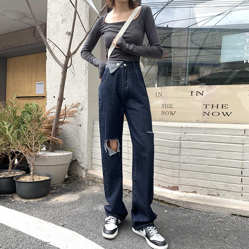 實拍港味復古街頭風不對稱拼接破洞牛仔褲女時尚寬松顯瘦休閑褲潮