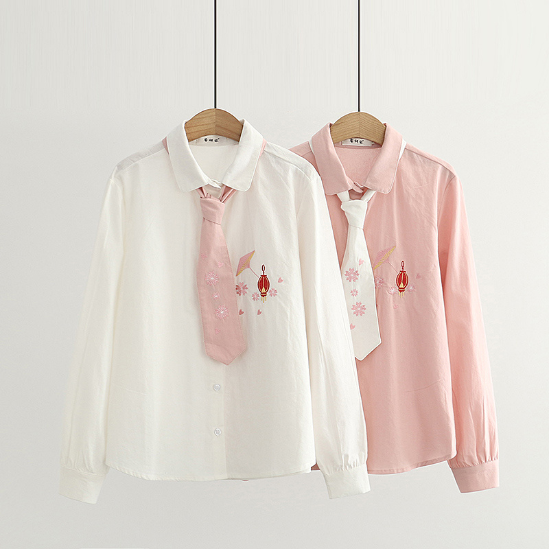 Junior high school students, senior high school students, literature and art, small fresh lanterns, embroidered shirts, soft girls, sweet embroidered long sleeved shirts