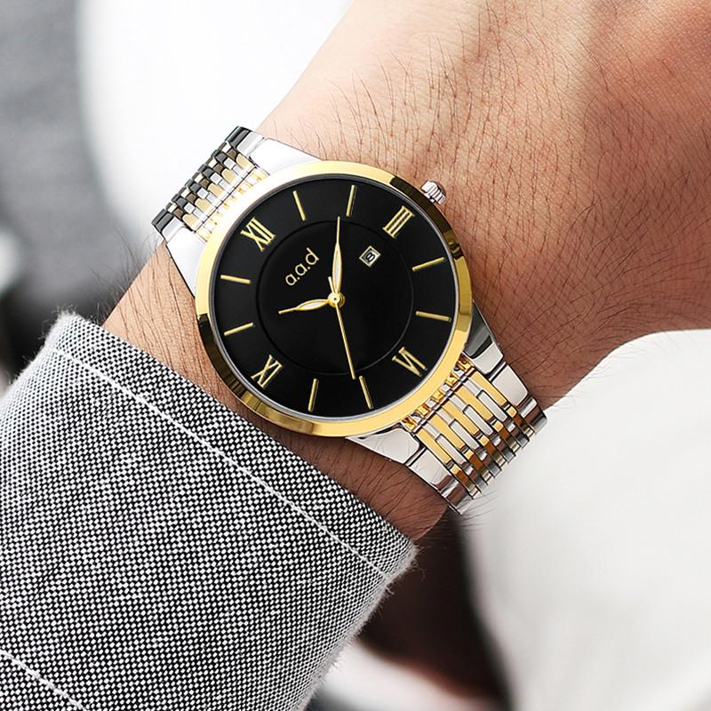 2018刻字超薄手表男女表防水潮流石英非全自动机械表情侣手表一对