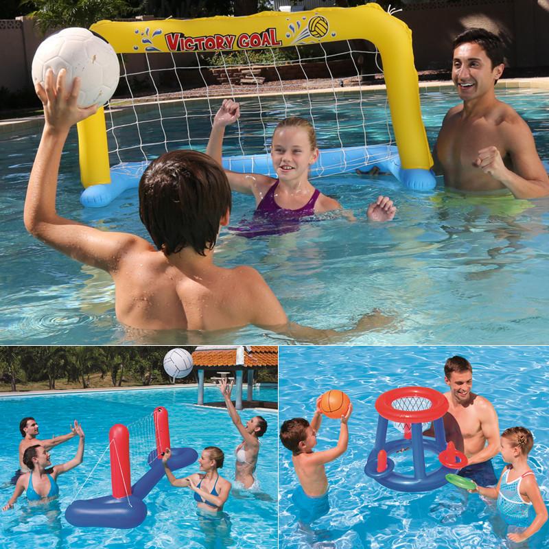 Ребенок водный игра стойка для мячей газированный волейбол сети кольцо баскетбол футбол коробка гандбол ворота ребенок купание игрушка