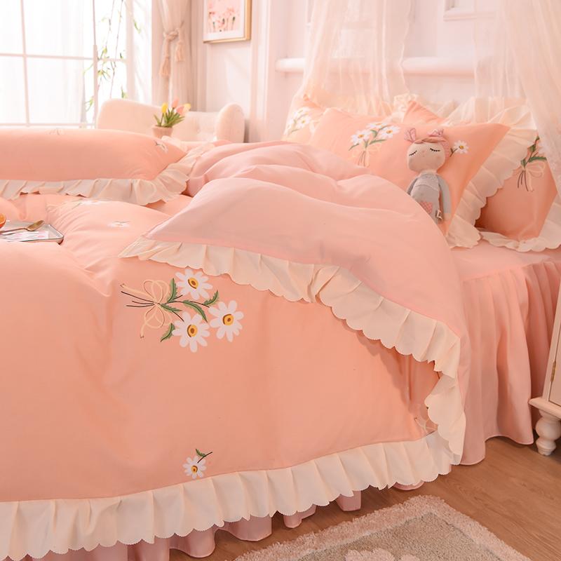 夏天床品床单被套四件套春秋夏季公主风粉床裙被罩宿舍单人三件套