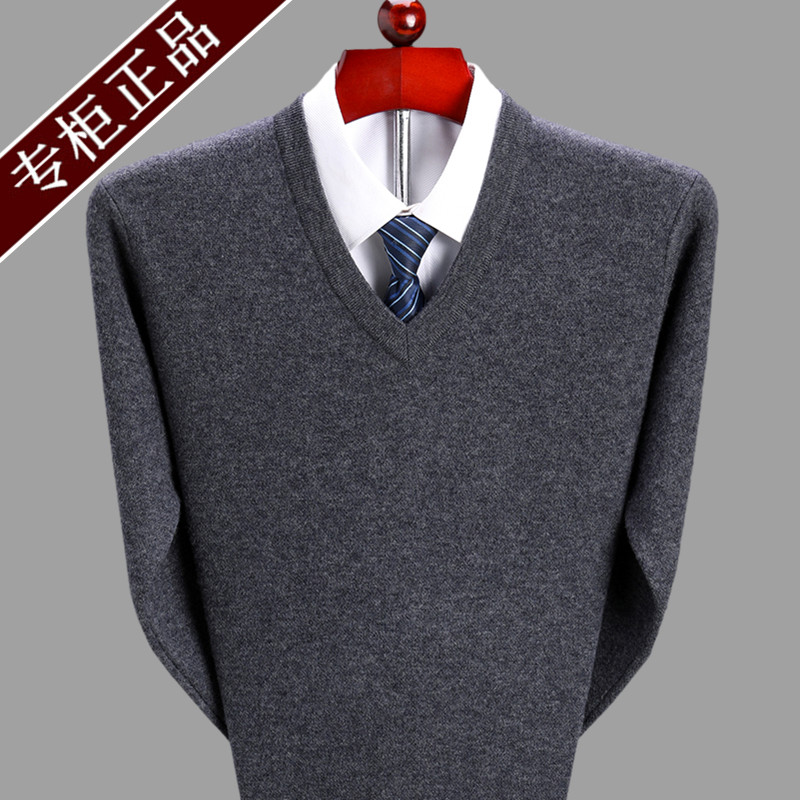 Cashmere sweater mens V-neck 100% pure cashmere thickened chicken heart collar sweater middle age loose sweater