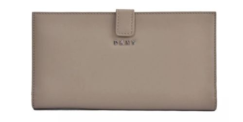 DKNY tangconar brown leather buckle double fold Long Wallet for womens fashion and portability