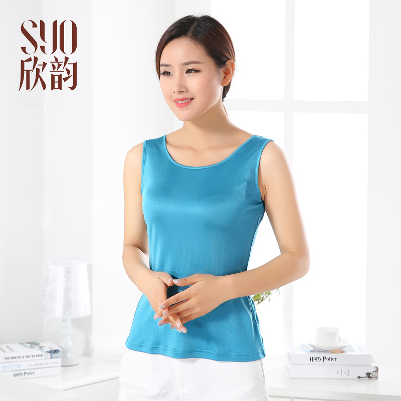Summer new style special price womens Silk Vest 100% mulberry silk solid color thickened knitted bottom sleeveless suspender vest