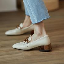 韩国金属扣方头平跟单鞋水晶跟休闲乐福鞋ins舒服到爆炸强推