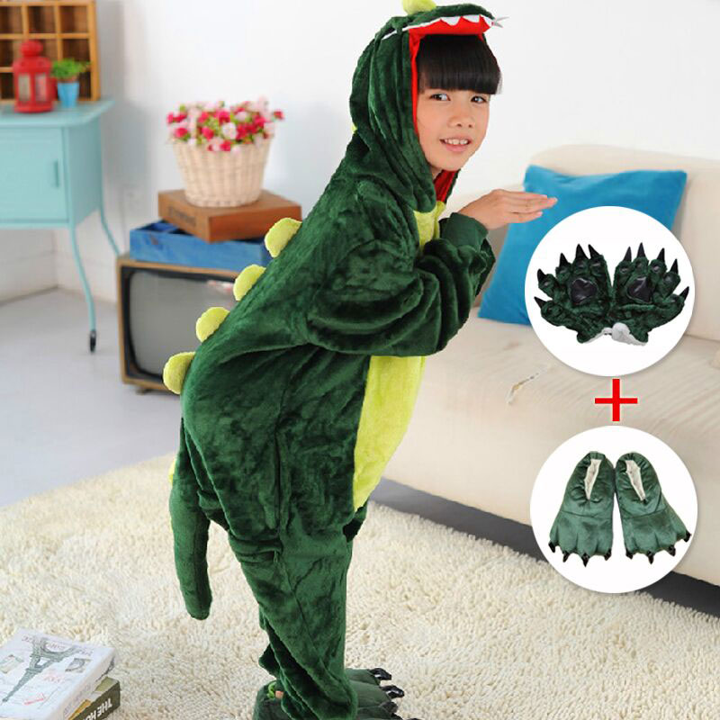 限时2件3折秋冬法兰绒儿童连体睡衣卡通恐龙动物亲子情侣宝宝男女家居服套装