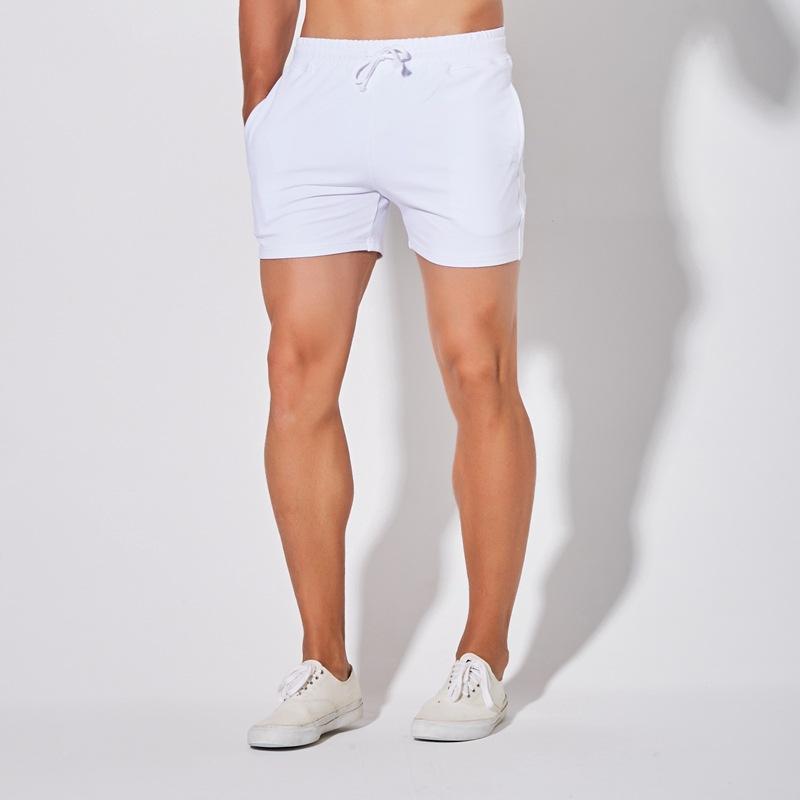 夏季白色运动短裤男跑步健身三分裤男纯棉弹力田径3分裤百搭潮流