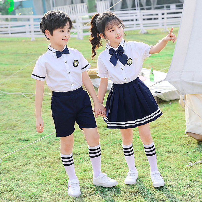幼儿园服夏季装短袖衬衫学院英伦风校服套装小学生毕业照演出班服