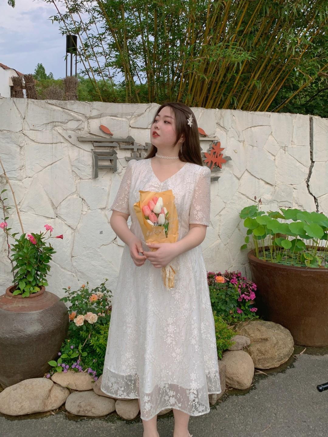 胖缘缘微胖  2021夏季超白色金丝显气质公主裙小礼服连衣裙YY5336