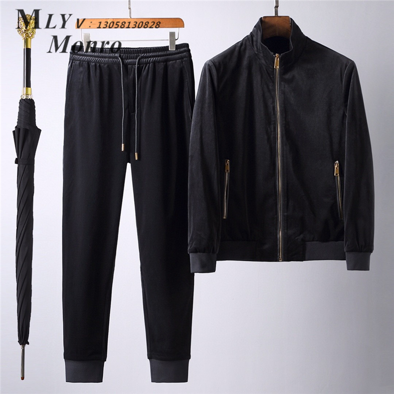 Autumn and winter clothing home a simple and generous pure velvet fabric soft and delicate mens fashion leisure sports suit