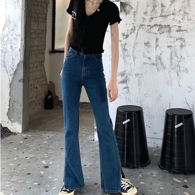 Summer 2020 New Retro High waist jeans split pants slim casual micro flared pants pants womens wear