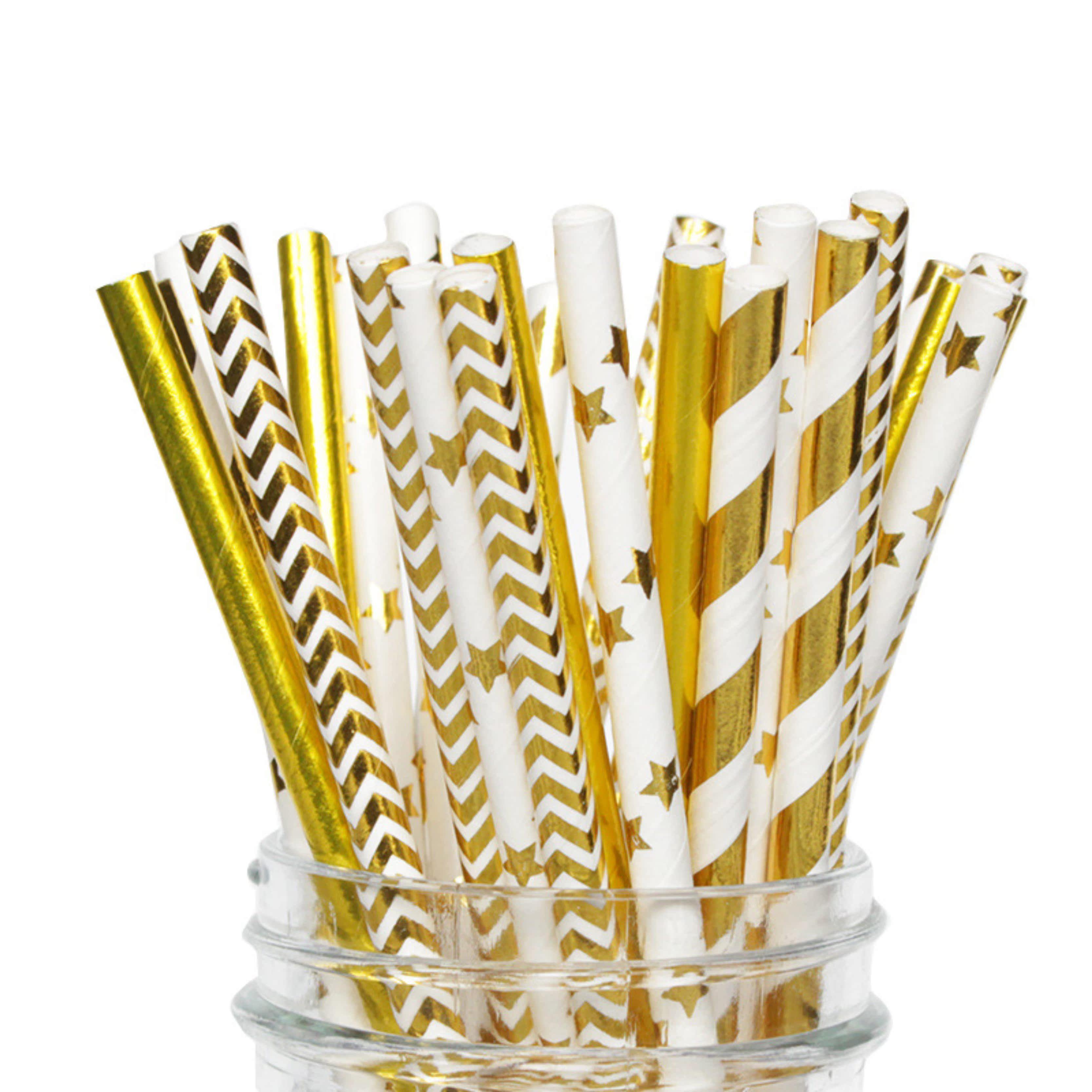 圣诞节派对 华丽生日蛋糕装饰 烫金条纹波点星星爱心纸吸管25支装