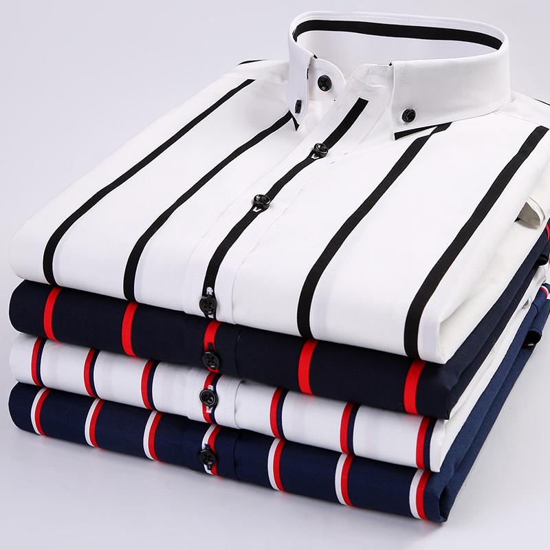 夏季黑白条纹衬衫男短袖韩版修身纯棉寸休闲男士长袖商务潮流衬衣