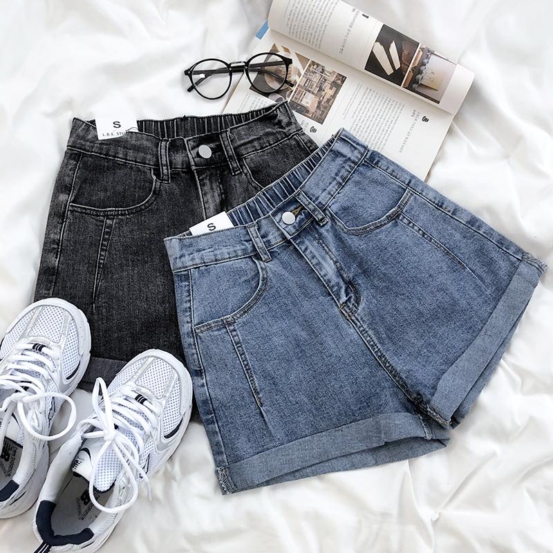 字显瘦短裤松紧高腰卷边直筒牛仔裤夏季薄款简约百搭外穿REANA
