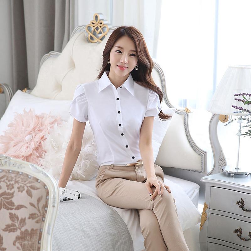 2019夏季韩版显瘦百搭休闲韩范气质淑女学生柔美雪纺衬衫女士短袖