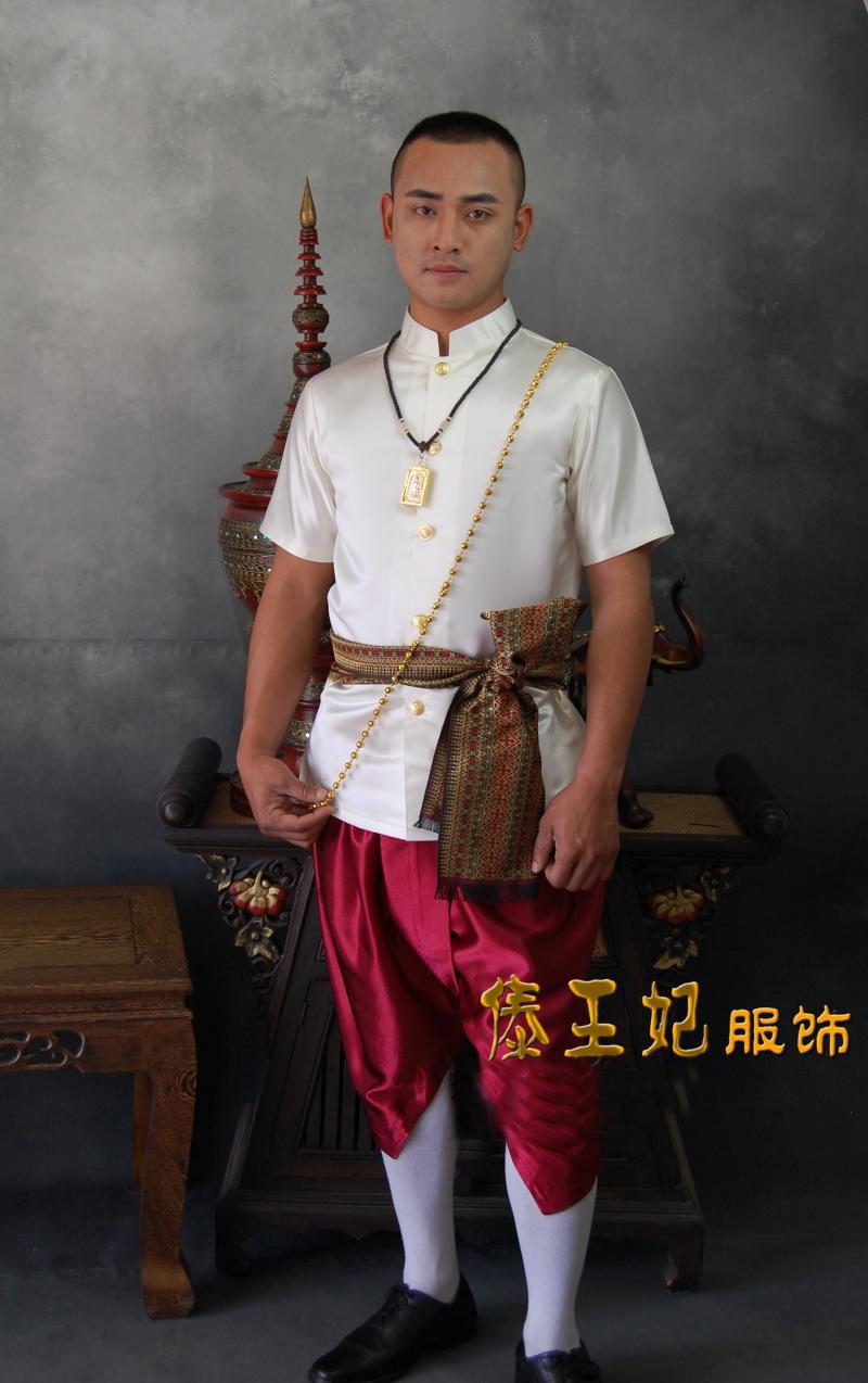 泰国传统民族服装男装立领短袖兜裆裤米白结婚影楼拍照写真服务员
