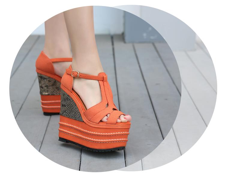 春夏新品超高跟坡跟防水台女凉鞋