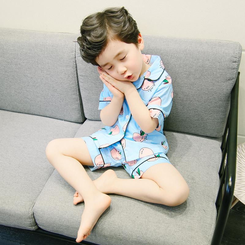 男宝宝棉简约家居服夏季新款2-3岁4透气5舒适睡衣男童装套装短袖