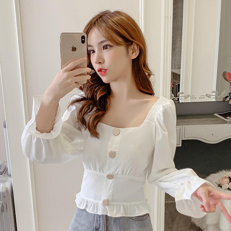实拍2019新款秋装韩版纯色单排扣方领长袖收腰显瘦小款上衣女短款