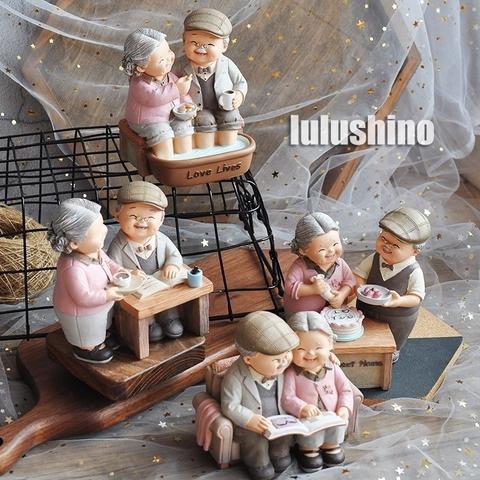 情侣创意老头老太太摆件爷爷奶奶结婚日礼物蛋糕烘焙摆件家居装饰