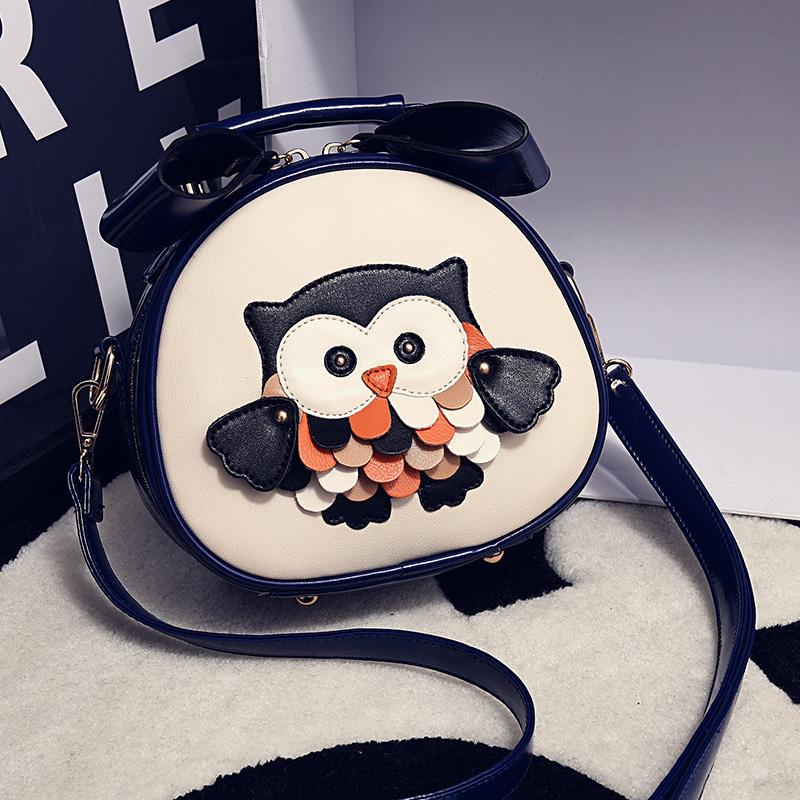 2019新款猫头鹰撞色小圆包手提斜挎包包潮流时尚女包迷你小包包需要用券