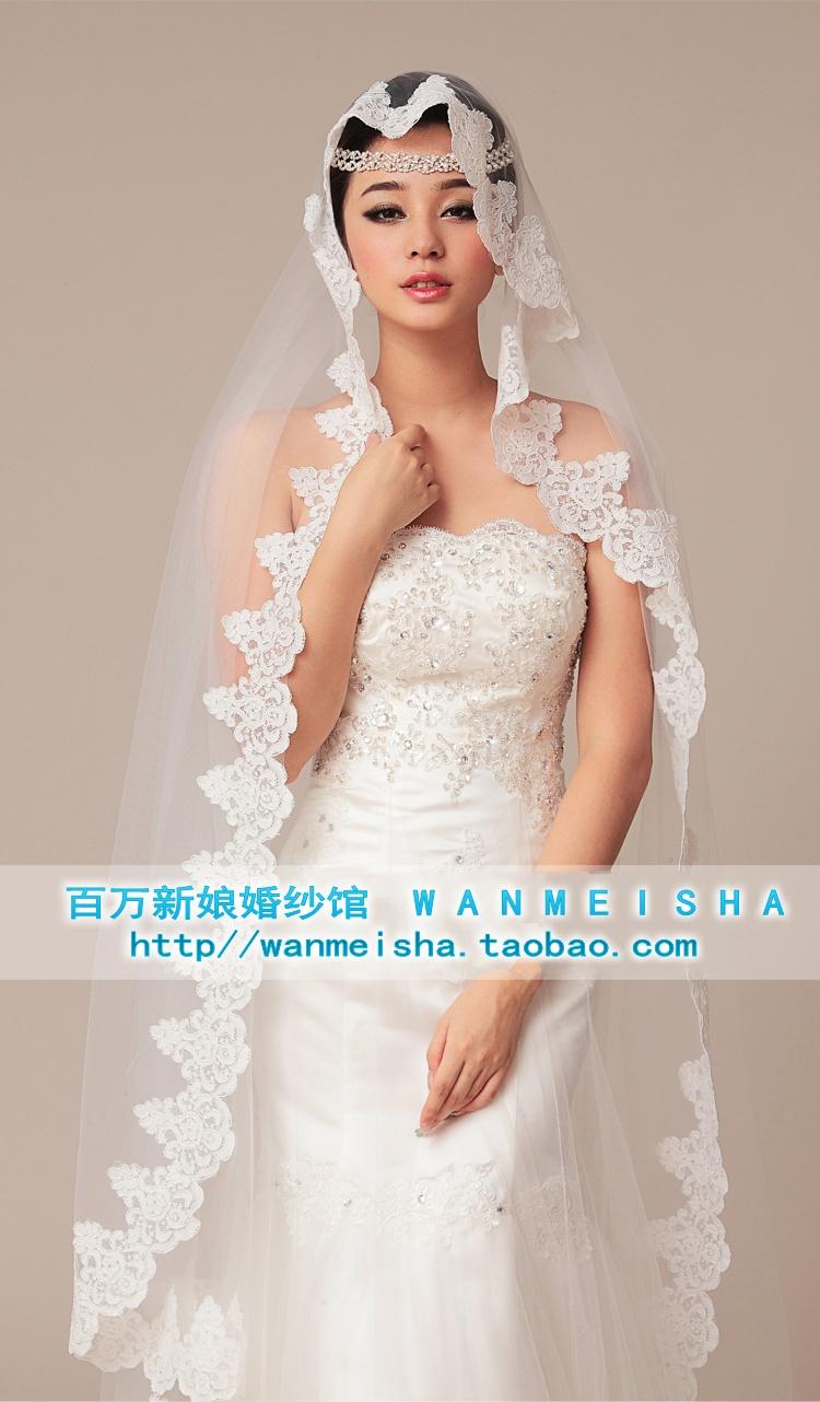 Миллион Свадебные аксессуары, Свадебные аксессуары должн иметь для корейской версии нового супер широкий кружева завесу слоновой кости бежевый