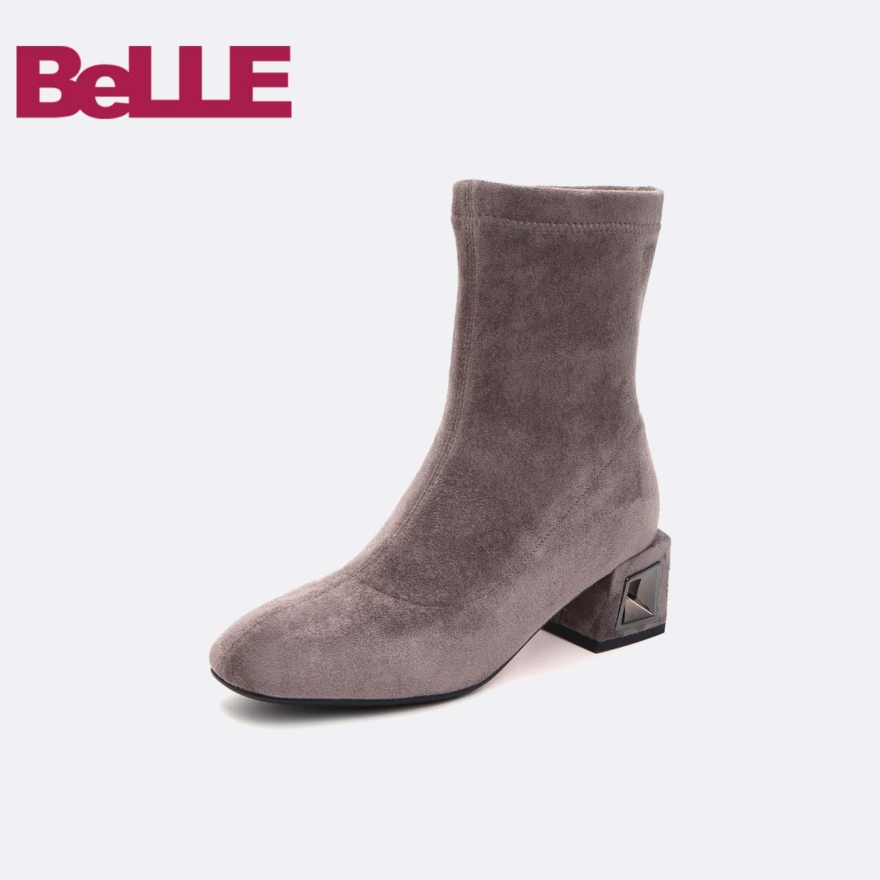 百丽弹力靴2018冬商场新款弹力布方跟女中靴(绒里)T3G1DDZ8