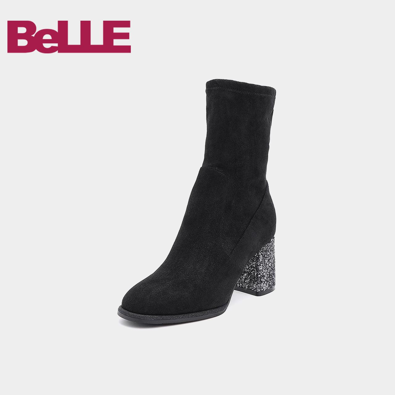Belle/百丽2018冬商场新弹力粗高跟女中靴单/绒里 T2Z2DDZ8