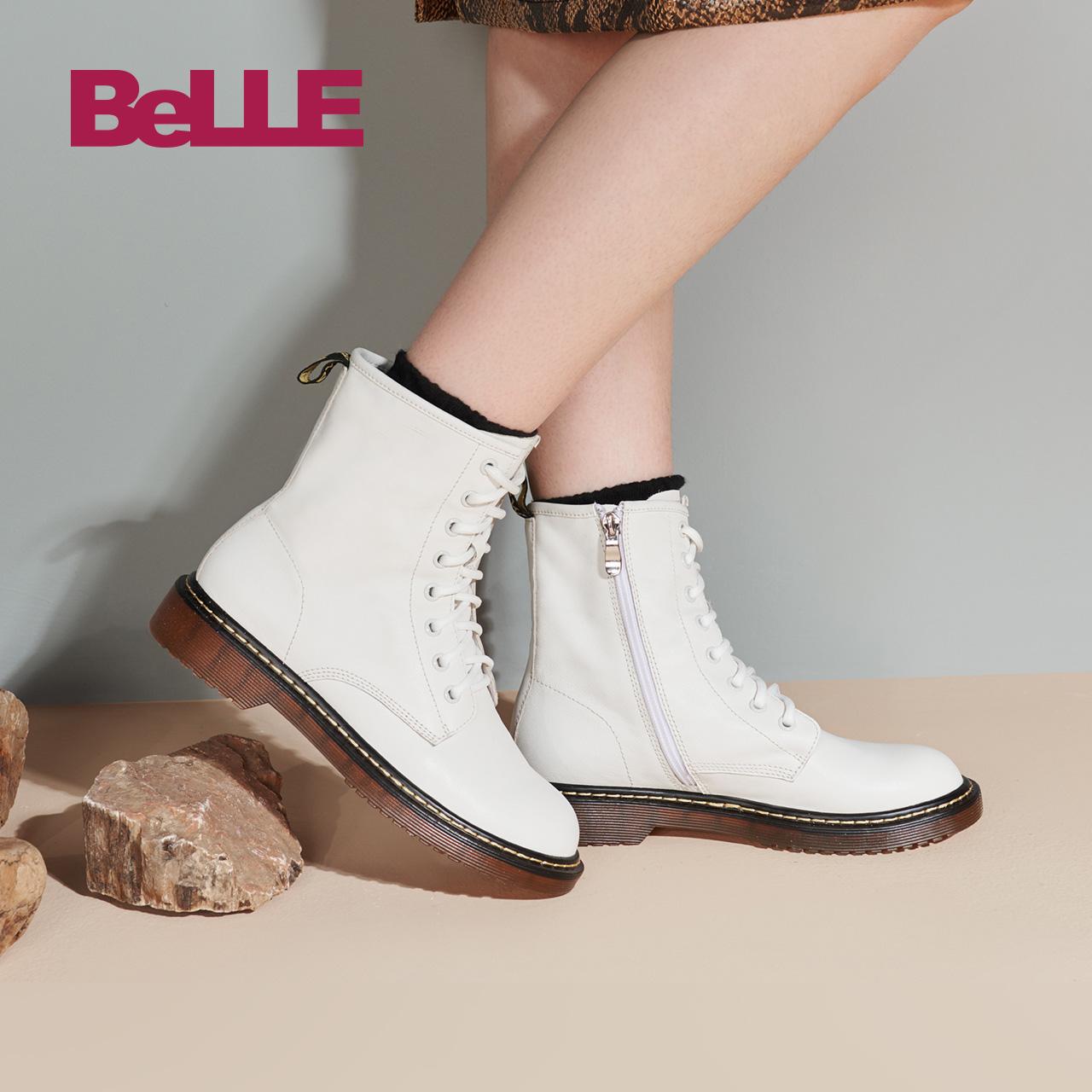 百丽马丁靴女2018冬新商场同款牛皮粗低跟短靴单/绒里T5B1DDZ8