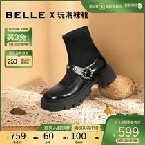 百丽2021秋季商场同款洛丽塔玛丽珍减龄显瘦厚软底短袜靴X1E1DCD1
