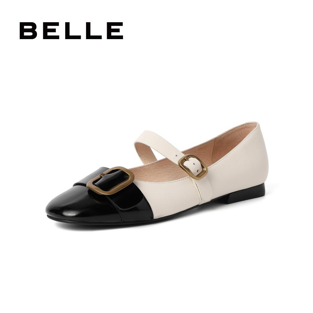 Belle retro Mary Jane shoes female 2021 spring new belt buckle female flat casual small leather shoes 11162AQ1