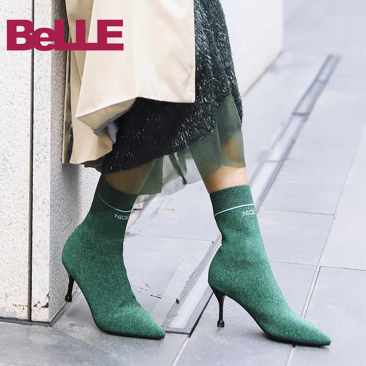 【淘宝预售】百丽袜靴18冬商场同款金属丝飞织帮面女中靴BA862DZ8