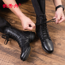 Mens Sailor Dance boots 2018 new adult soft bottom black dance shoes spring and autumn middle tube leather square dance Shoes