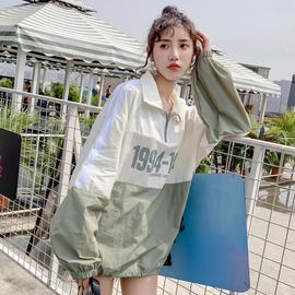 2019夏季新款薄外套女学生韩版宽松bf撞色拼接百搭套头防晒服上衣