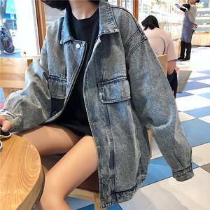 领5元券购买秋季2018新款韩版港风牛仔外套女复古bf原宿风中长款宽松夹克上衣