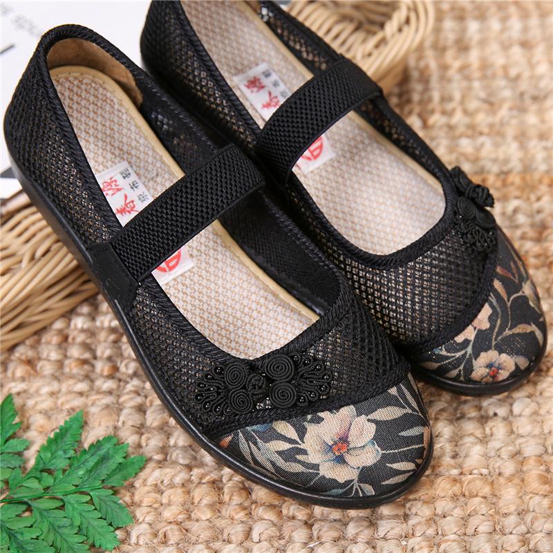 中老年女鞋夏季防滑轻便老北京布鞋绣花妈妈鞋透气网鞋平底奶奶鞋
