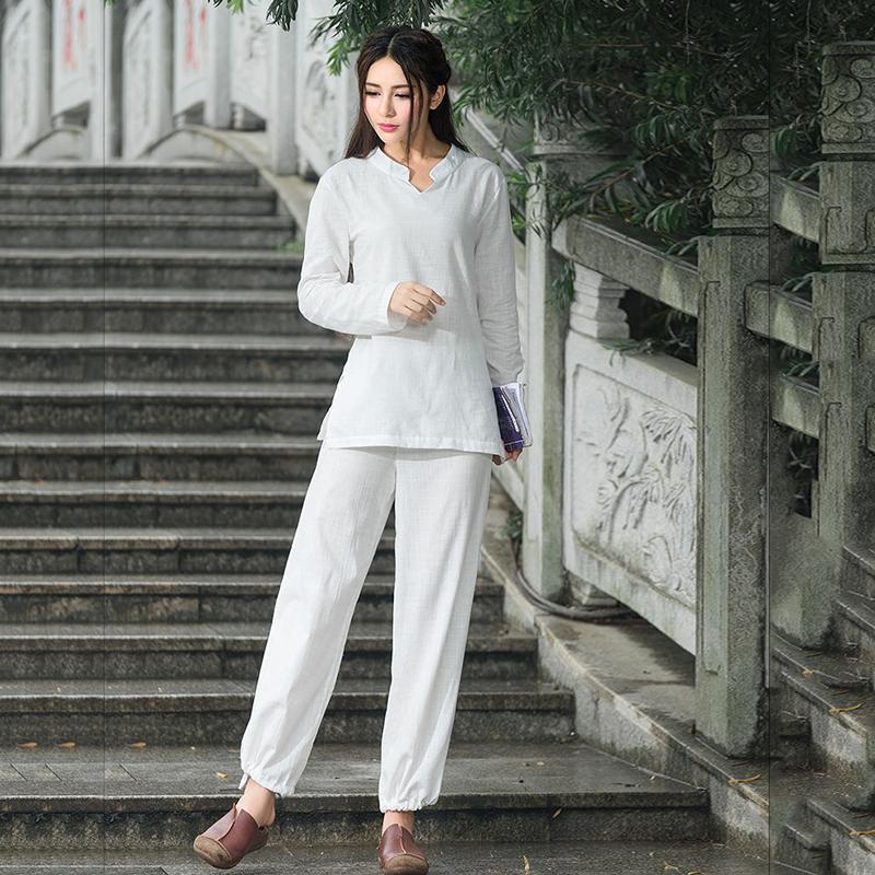民族风女装棉麻瑜伽服两件套装休闲打坐禅修服长袖套装女纯色运动