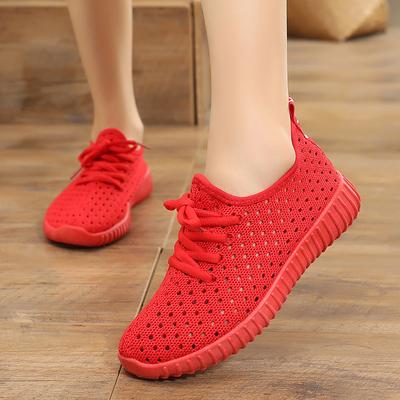 老北京布鞋女夏季网鞋平底缕空运动休闲鞋透气飞织网面百搭妈妈鞋