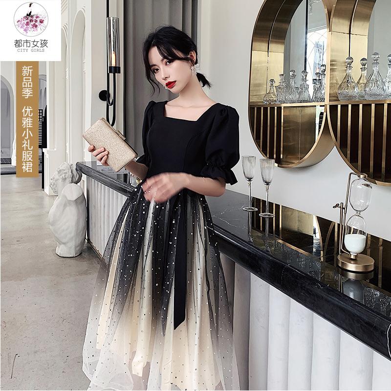 Black evening dress girl 2021 new banquet temperament student fairy dress can wear small dress at ordinary times