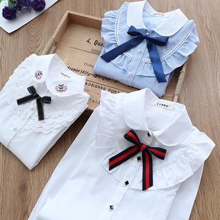 童裝女童白襯衫長袖洋氣女大童兒童襯衣12-15純棉上衣小學生校服
