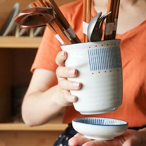 西田木雨 渔火 日式陶瓷筷子筒厨房家用沥水筷筒存放架筷笼 包邮