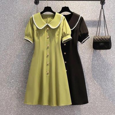 大码女装2021夏季新款胖妹妹MM法式复古短袖气质显瘦娃娃领连衣裙